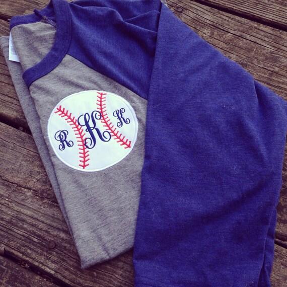 Monogrammed appliqu d baseball tee personalized monogrammed for Custom baseball tee shirts