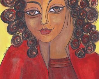 Woman in Red -  Modern Art Print