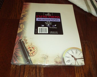 Vintage 1980's DOMTAR EXPRESSIONS 100 Sheets CLOCK Design Decorated Gorgeous 8.5x11 Acid Free Printers Paper - Rare, Sealed, Discontinued