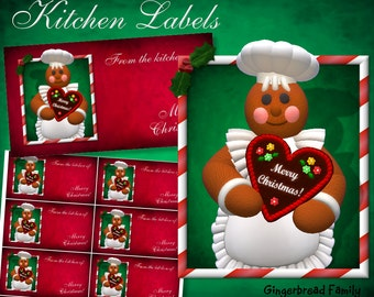 "Gingerbread Girl ""Heart"" Kitchen Labels - Digital Download"