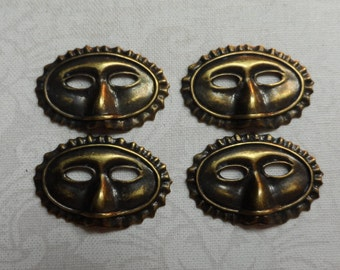 """Vintage gold plate brass stamped 3D masks,15/16th""""x9/16th"""",4pcs-CHM06AG"""