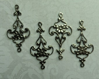 """Vintage silver plate brass stamped earring blanks,1""""x1/2"""",4pcs-ERG44S"""