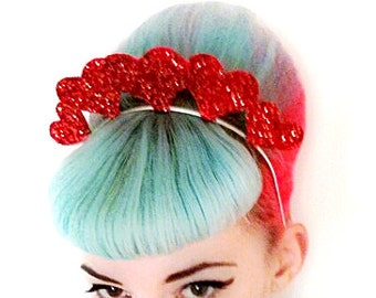 20% off everything with the code XMAS20 Kitsch Glittery Queen of Hearts Headband Any Colour... Burlesque, Valentines