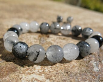 Tourmalinated Quartz and Clear Quartz Mala Prayer beads with sliding closure, 18 beads, 10mm beads. Grounding, harmony and positive energy