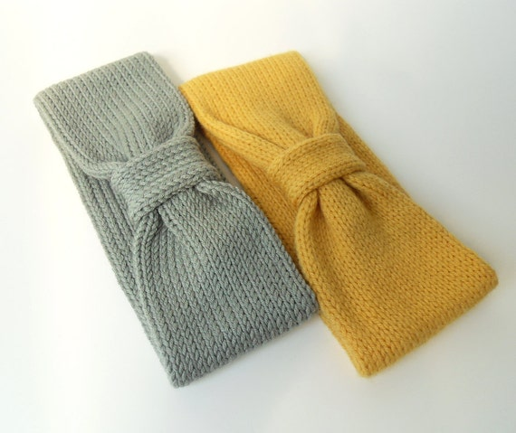 Pure Merino Knit Headband Earwarmer, Gray Knit Headband, Mustard Knit Headband