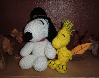 Pilgrim Snoopy and Turkey Woodstock stuffed animals, Crocheted - Made to Order