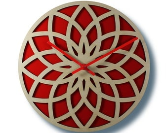 "12"" LOTUS WALL CLOCK Contemporary Acrylic and Wood Laser Cut"