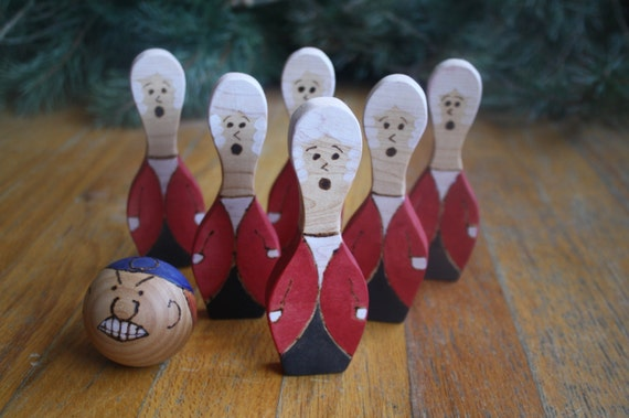 Ready to Ship Handmade Wooden Reb and the Redcoats Bowling or Duck Pin Set fun for fourth of july or independence day