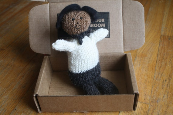 Ready to Ship Knit Henry Box Brown in Ecru Shirt with Black Hair