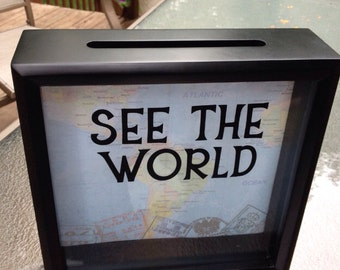 """SEE THE WORLD, Ticket Stub Box, 8""""x8"""" Shadow Box, made to order, Gift for Traveler, Ticket Shadow Box, Graduation Gift, World Map"""