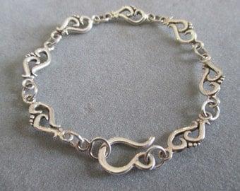 Sterling Silver Swirl Link Bracelet #BL25SS