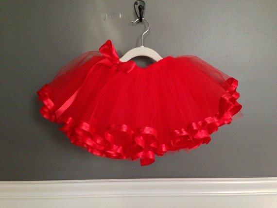 Red ribbon tutu NB-12 girls