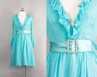 ON HOLD 4 JANE: Stunning 1960s/1970s Turquoise Chiffon Sleeved Mini Dress w/ Plunging Neckline and Rhinestone Belt Size M L