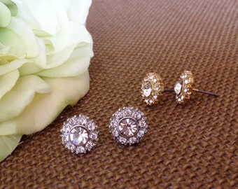 Gold/Silver Crystal Cluster Stud Earring