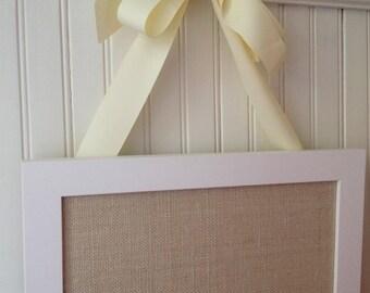 "MED framed magnetic bulletin board, 16""x12"" center, lt. wheat burlap, magnet board, memo board,photo display, rustic wedding"