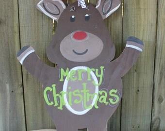 Christmas Home Decor/ Reindeer Door Hanger/ Seasonal Decor