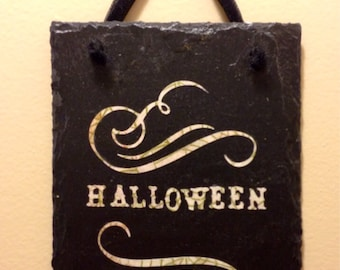 Slate Halloween sign, Halloween Decor,