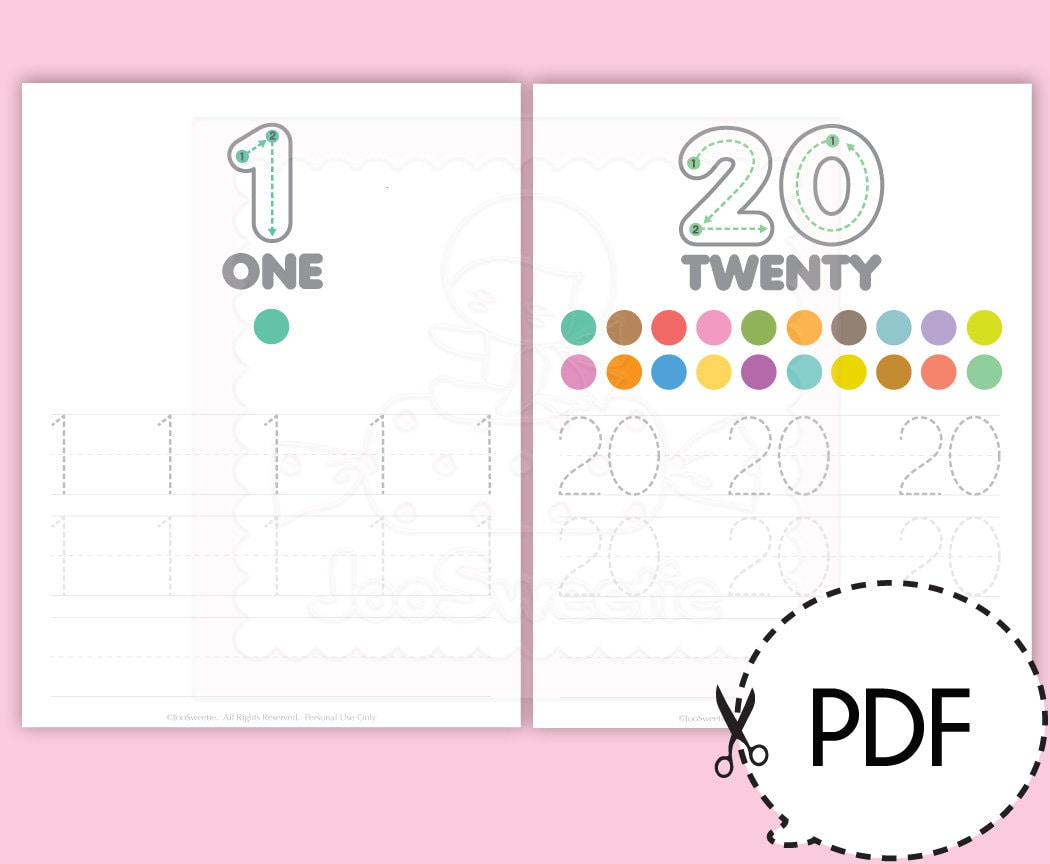 Number 1-20 Writing Practice Sheets-Printable PDF Download