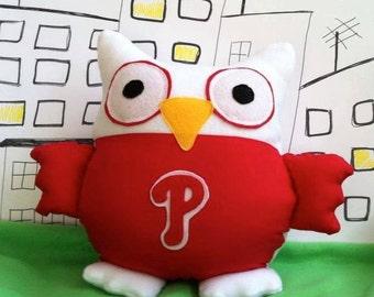 Red Phillies Owls -inspired by Philadelphia Baseball