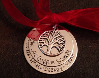 SALE!!  Personalized family christmas ornament with tree of life charm