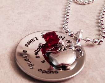 Teachers take a hand, open a mind, and touch a heart hand stamped teachers necklace with apple charm and Swarovski crystal