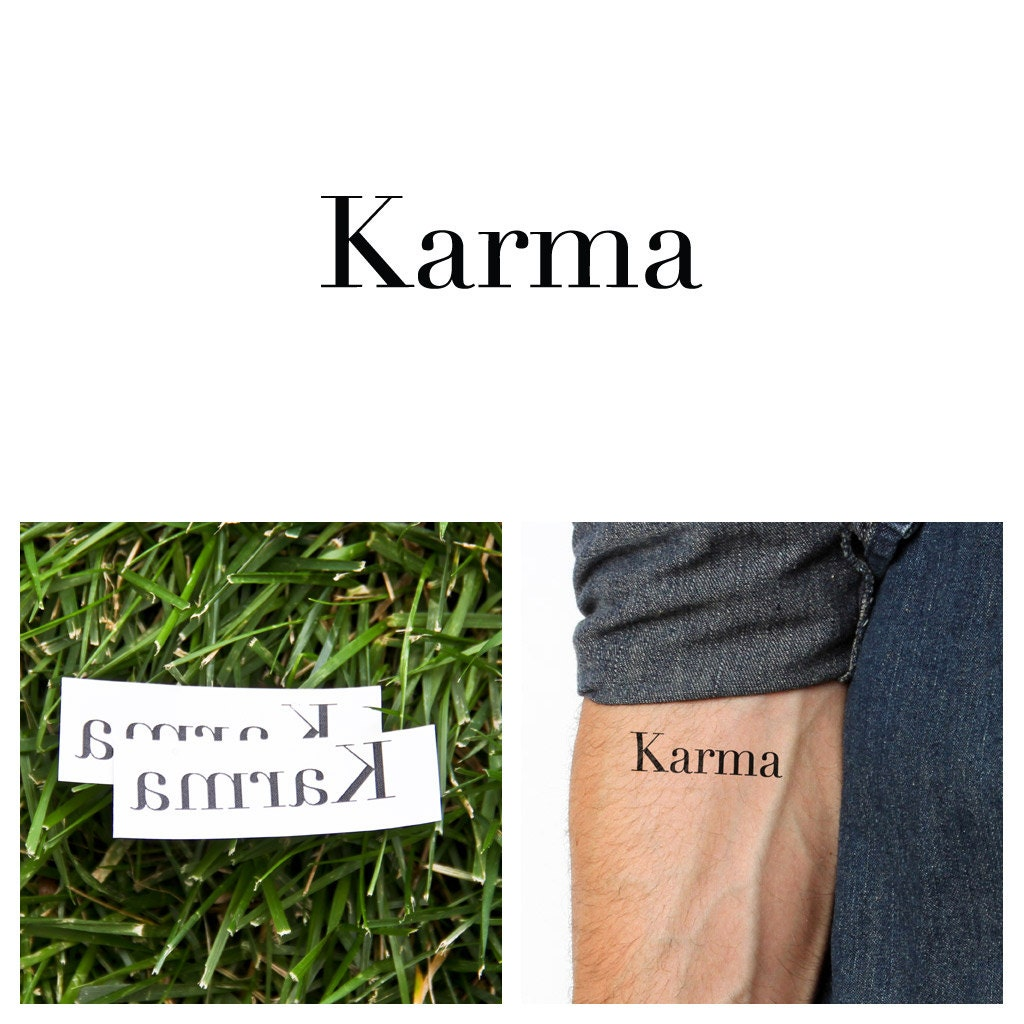 Quotes Karma Temporary Tattoo Set Of 2 By Tattify On Etsy