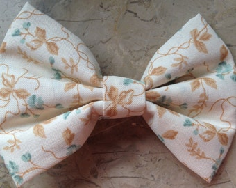 tan floral hair bow