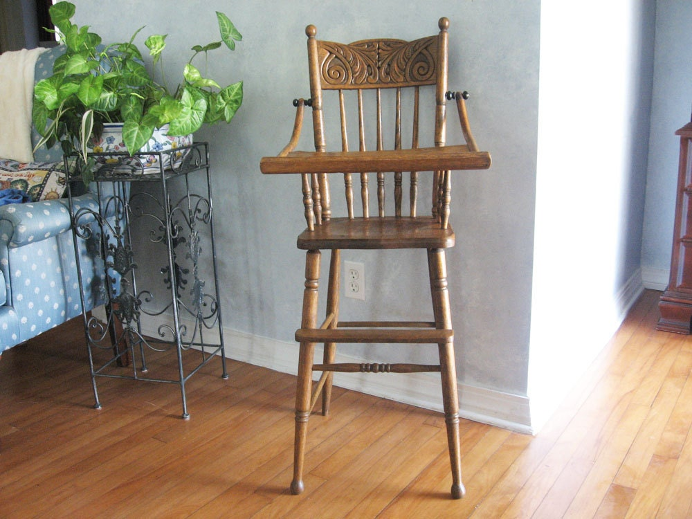 🔎zoom - Antique High Chair Oak Pressed Back With Spindles Early