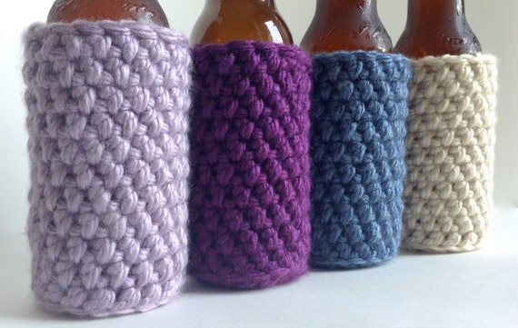 Crochet Patterns For Koozies : Items similar to Crochet Bottle Koozie, Crochet Bottle ...