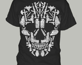 GUNS BULLETS SKULL gun t-shirt tee shirt short or long sleeve your choice! all sizes many colors