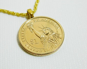 HALF PRICE CLEARANCE - Statue of Liberty Necklace - Made from a U. S. Dollar Coin.  Overstock sale.  Necklaces only.