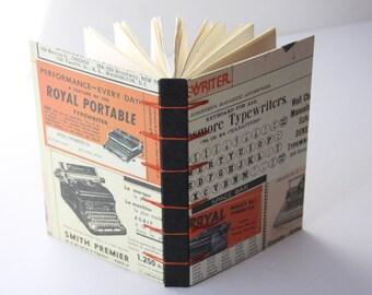 Vintage Typewriter Notebook Sketchbook or Journal // Secret Belgian Binding