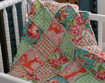 READY to SHIP, Crib Quilt, Rag Quilt, Amy Butler, Love, Mint Green, Tangerine Orange, Pink, and Aqua Blue, polka dots, Handmade, All Natural