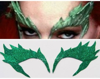 Poison Ivy Leaf Eyebrow Extreme Glitter eye mask costume Batman Riddler Bane cosplay Elf or Fairy, Comic Con & Halloween