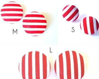 Red and White Striped Button Earring