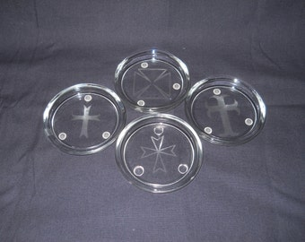 Glass Etched Coasters with Crosses - set of 4