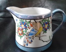Vintage Luster Ware Hand Paint and Transfer Japan Peacock Creamer gold Paint