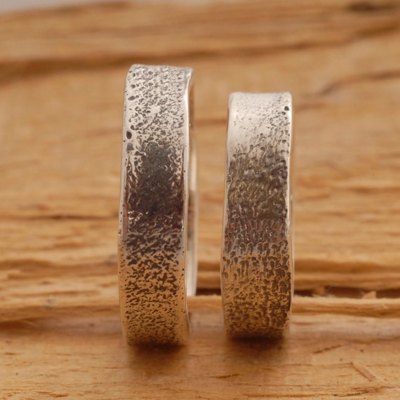 Rustic Sterling Silver Wedding Band Set, Matching Wedding Band Rings ...