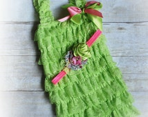 Baby girl lace romper, 2 pieces neon pink  and green lace romper set. Lace Petti Romper , headband , Baby Girl Photo Prop
