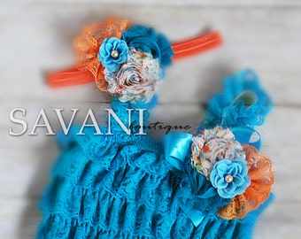 Baby lace romper,Teal orange lace romper set. Lace Petti Romper , headband and clip, Baby Girl Photo Prop
