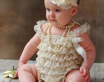 Baby lace outfit, 2 pieces Ivory peach  lace romper set. Lace Petti Romper and  headband, Baby Girl Photo Props, baby girl lace outfit