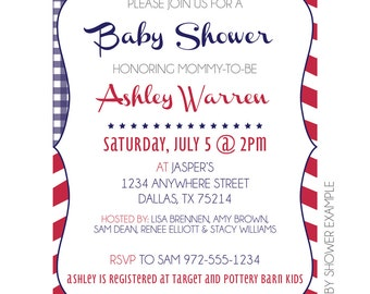 Red, White & Blue Invitation // Patriotic Invitation // Printable Shower Invitation