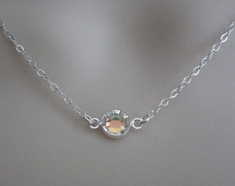 Swarovski Crystal Necklace. Sterling Silver Jewelry. Dainty Choker. Layer Necklace. Wedding. Bridesmaid Necklace. Friendship Jewelry. BFF