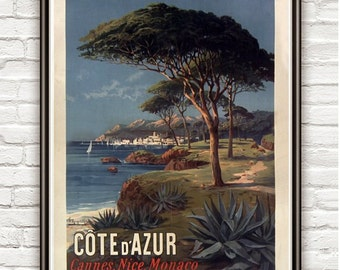 Vintage Poster of Cote d Azur 1895 Tourism poster travel