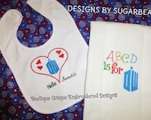 Bib & Burp Cloth SET Doctor Who Inspired HeLLo SwEETie KeeP CaLM YoUR CHoICE BoUTiQUe UniQue Baby Shower Gift Designs by Sugarbear