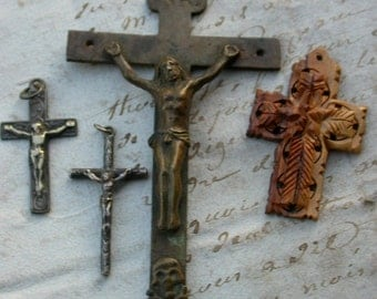4pcs French antique 19th century sterling silver Hand carved wooden cross Crucifix  Pendant solid bronwe gothic