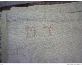 """French vintage Linen Sheet Fancy Embroidery monogram Cutwork 102"""" embroidery antique pure linen"""
