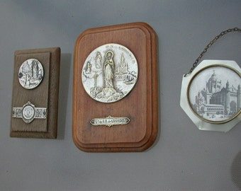 3pcs French antique icon reliquary  solid bronze silver metal Notre dame des Louvres Church gothic cross silver antique
