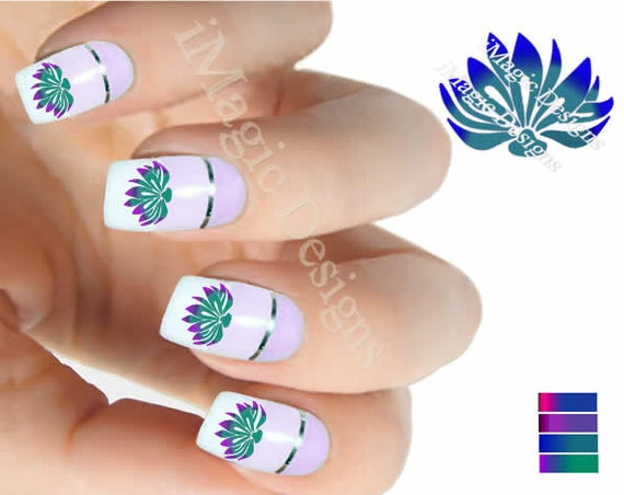 Water slide nail art decals nail floral stickers lotus like this item prinsesfo Choice Image