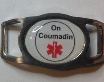 "Stainless Steel Medical Alert ""On Coumadin"" Paracord  Shoe Lace Charm (1)"